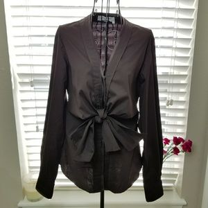 YSL Rive Gauche Brown Long Sleeve Front Tie Blouse